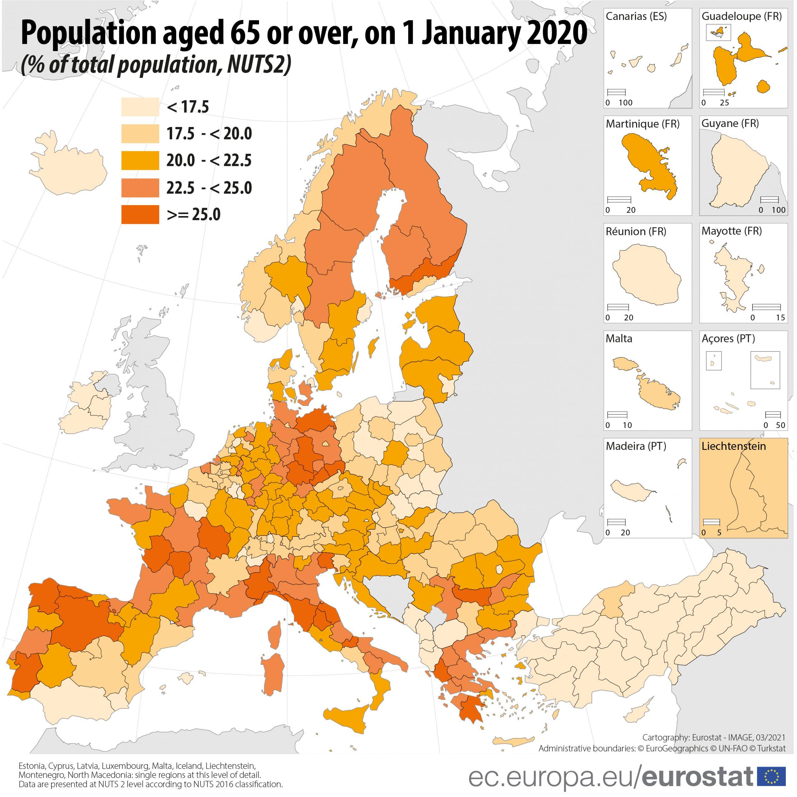 Stanovništvo iznad 65 godina u Europi Eurostat-demografija-scaled